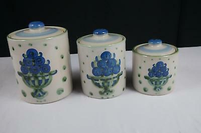 M A Hadley Bouquet Pattern Canister Set - Set Of 3