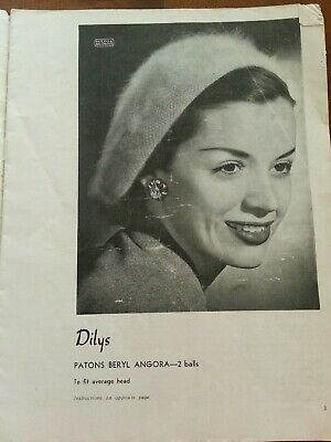 1940s 1950s VINTAGE PATONS KNITTING PATTERN BOOK #289 Womens Hats Berets