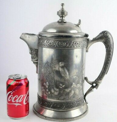 Antique Aesthetic Movement Wilcox Quadrupled Silverplate Water Tea Pitcher Jug