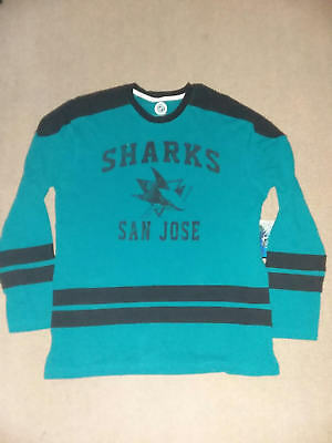 SAN JOSE SHARKS NHL HOCKEY LONG SLEEVE SHIRT TEAL BLACK NEW! XL extra large