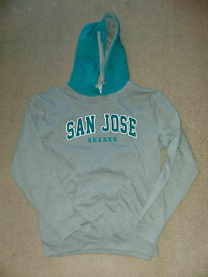 SAN JOSE SHARKS HOODIE SWEATSHIRT NEW GRAY TEAL L LARGE hockey