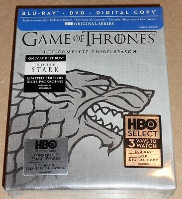 Game of Thrones: Complete Third Season 3 Blu-ray Best Buy House Stark SEALED NEW