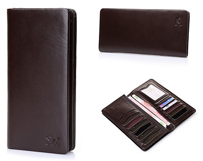 a0eedc25edcb TEXBO MEN'S GENUINE Cow Leather Bifold Long Wallet Brown - $37.32 ...