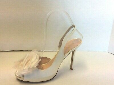 7a4b01bb23b Kate Spade Satin Ivory Slingback Bow Detail Party Wedding Prom Shoes Size 7  B