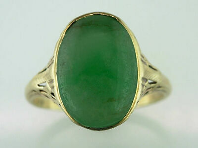 Antique Jade Cocktail Ring 14K Yellow Gold Art Deco Vintage