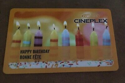 "Cineplex ""happy birthday""/""bonne fete"" Gift Card - No value (2 available) - New"