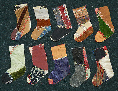 10 Awesome Primitive Antique Vintage Cutter Crazy Quilt Stockings! #9