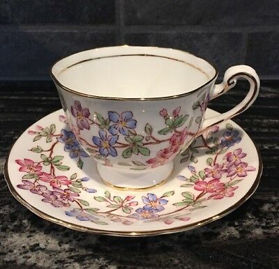ROYAL CHELSEA TEA CUP + SAUCER 4301A ,Pink Blue & Purple Flowers
