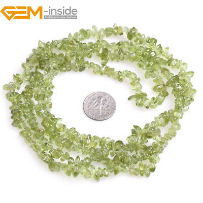 """3-5mm Freeform Natural Gemstone Green Peridot Chips Beads For Jewelry Making 34"""""""
