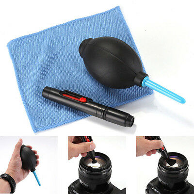3 in 1 Lens Cleaning Cleaner Dust Pen Blower Cloth Kit For DSLR VCR Camera M_T