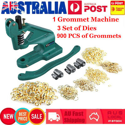 Grommet Machine Banner Eyelet Hole Punch Hand Press +3 Dies+900 Grommets Kit AU