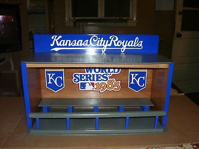 Bobble heads display case Royals World Series 1985 Pinewood Stained Cherry