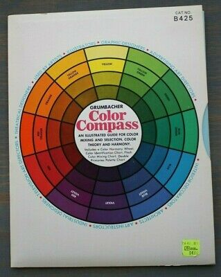 Vintage 1972 M. GRUMBACHER Color Compass & Harmony Wheel Mixing Chart B425