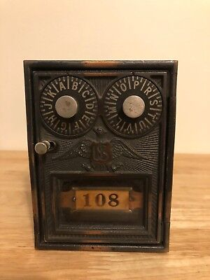Antique Corbin Double Dial US Post Office Mail Box Complete box with combination