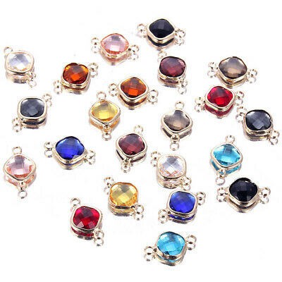 Faceted Crystal Glass Beads Connector Charm DIY Bracelet Earrings Jewelry Making