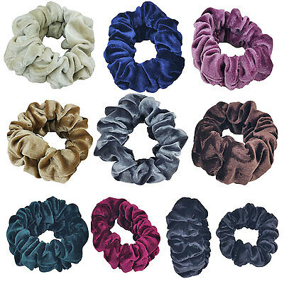 Large & Top Quality Velvet Scrunchies Color Assorted Hair Holder Fashion Solid