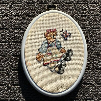 "TEDDY BEAR ""Pale Blue"" Finished Cross Stitch Needlework in Embroidery Hoop"