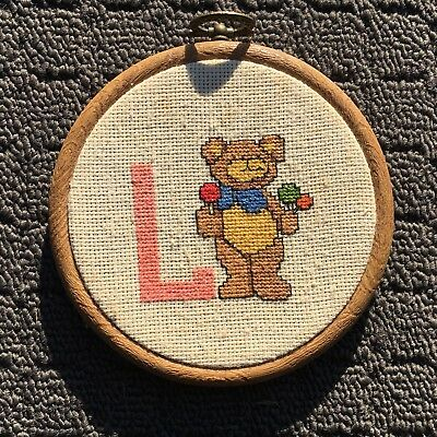 "L TEDDY BEAR ""Brown"" Finished Cross Stitch Needlework in Embroidery Hoop"