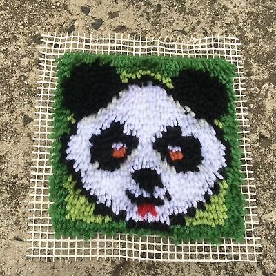 "PANDA ""Black & White"" Small Completed Latch Hook Hand Embroidery Design"