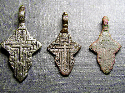 Ancient Old Christianity Bronze Cross 3 Pieces.Petal.
