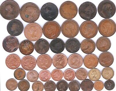 """43 different """"COPPER"""" coins from GREAT BRITAIN"""