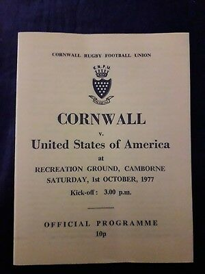 1977-Cornwall V United States-Usa-County-International Tour-Rugby Programme-Vgc