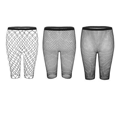 Womens Ladies High Waisted Fishnet Mesh Half Leggings Shorts hot pants Stockings