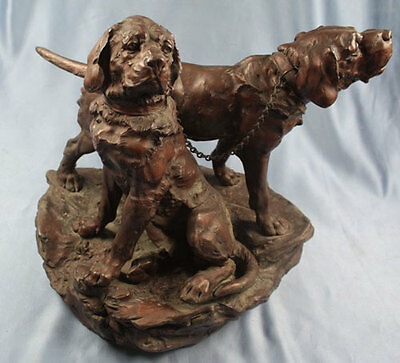 antike Bronze figur pointer wirehead rauhhaar jagdhund Two Hounds bronce