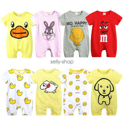 Newborn Toddler Baby Boys Girl Short Sleeve Romper Jumpsuit Clothes Outfit 0-18M