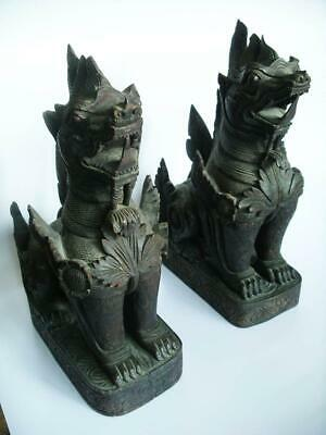 19th CENTURY ORNATELY CARVED PAIR ANTIQUE CHINESE DOGS OF FOO TEMPLE LIONS