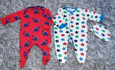 Baby Boys Bundle Mothercare Dinosaur Sleepsuit Pyjamas Hat First Size Newborn