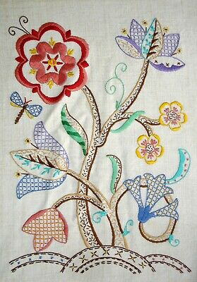 Vintage Hand Embroidered Large Unframed Linen Picture Jacobean Flowers