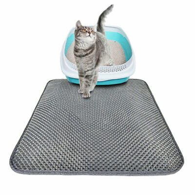 Grey Waterproof Double-Layer Cat Litter Mat Trapper Foldable Pad Pet Rug 4 Size