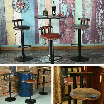 Bar Stool Industrial Vintage Cafe Kitchen Chair Leather Seat Backrest