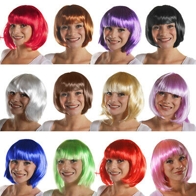 Ladies Short Bob Wig Womens Cosplay Colours Pop Party Wigs Costume Fancy Dress