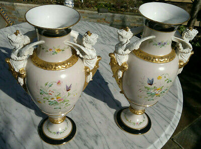 """Pair 19thC Antique French Empire Vases Angel Handles Handpainted 13.75"""" tall"""