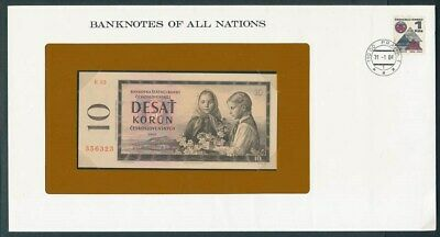 Czechoslovakia: 1960 10 Korun Note & Stamp Cover, Banknotes Of All Nations