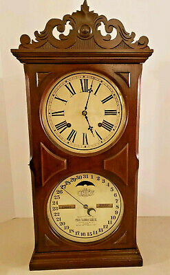 Antique Working 1866 ITHACA Double Dial Walnut Calendar Mantel Clock E.N. Welch