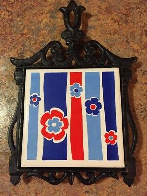 Vintage Nevco tile trivet wrought iron floral Nice condition