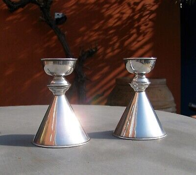Vintage Middle Eastern Islamic Solid Silver Hallmarked Candlesticks 152g