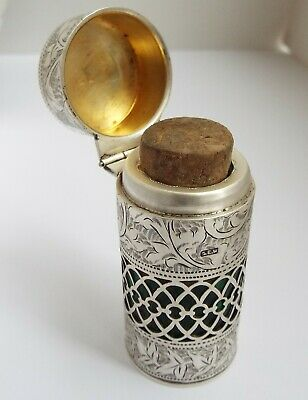 Beautiful Large English Antique 1907 Solid Sterling Silver Pierced Scent Bottle