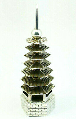 Antique Chinese Export Solid Silver 6 Tier Pagoda Model Pierced Water Dropper