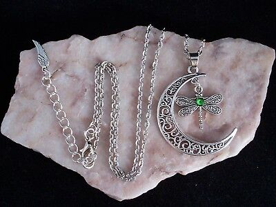 Tibetan Silver Crescent Moon & Dragonfly With Green Diamante Necklace.Handmade.