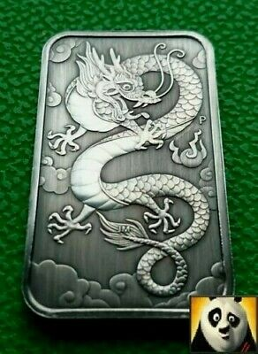 2019 AUSTRALIA Dragon Bar Antique Finish 1 Oz Bullion Silver Perth Mint Coin