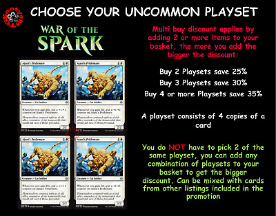 MTG War of the Spark WAR Choose your Uncommon Playset (x 4 cards)