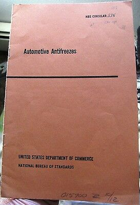 Automotive Antifreezes - National Bureau of Standards NBS Circular 576 - 1956