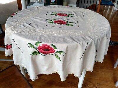 Vintage Rose Cottage Shabby Embroidery Cross Stitch Chic Lace Floral Tablecloth