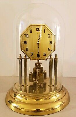 Antique 1930 Kienzle Obergfell Brass Glass Dome 400 Day German Anniversary Clock
