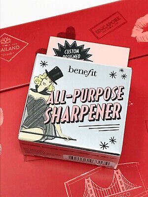 BENEFIT Dual Double All Purpose Pencil Eyeliner Sharpener Pink Plastic NEW BOXED