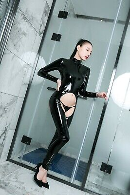Sexy Damen Latex Body Wetlook Bodysuit Overall Catsuit Anzug glänzend Clubwear